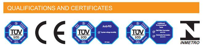 Chứng nhận tiêu chuẩn chất lượng tiêu chuẩn của Pin mặt trời Sunergy Của Mỹ